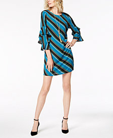 I.N.C. Tiered-Sleeve Striped Sheath Dress, Created for Macy's