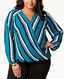 I.N.C. Plus Size Striped Surplice Top, Created for Macy's