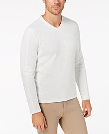 Alfani Men's Striped-Sleeve Ribbed V-Neck Shirt, Created for Macy's