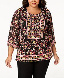 JM Collection Plus Size Printed Chiffon-Sleeve Top, Created for Macy's