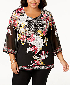 JM Collection Plus Size Embellished Chiffon Tunic, Created for Macy's