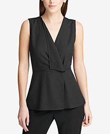 DKNY Peplum V-Neck Shell, Created for Macy's