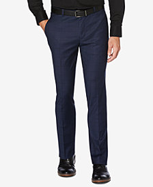 Perry Ellis Portfolio Men's Slim-Fit Performance Stretch Windowpane Plaid Dress Pants