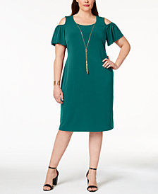 JM Collection Plus & Petite Plus Size Cold-Shoulder Dress, Created for Macy's