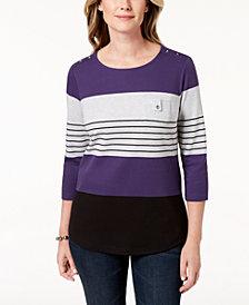 Karen Scott Petite Striped Top, Created for Macy's