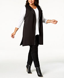 JM Collection Plus Size Laced-Detail Vest, Created for Macy's