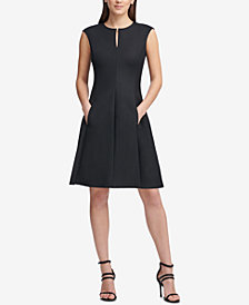 DKNY Cap-Sleeve Keyhole Fit & Flare Dress, Created for Macy's