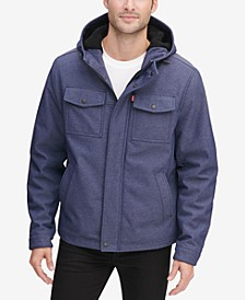 Men's Soft Shell Hooded Trucker Jacket with Sherpa Fleece Lining