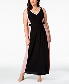 Love Squared Trendy Plus Size Contrast-Trim Maxi Dress