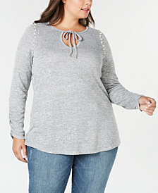 Seven7 Trendy Plus Size Embellished-Neck Knotted Tunic