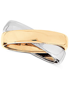 Two-Tone Polished Crisscross Band in 14k Gold & Rhodium-Plate