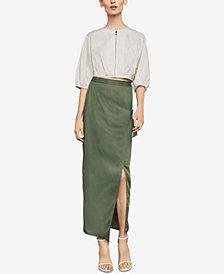 BCBGMAXAZRIA Faux-Suede Wrap Maxi Skirt