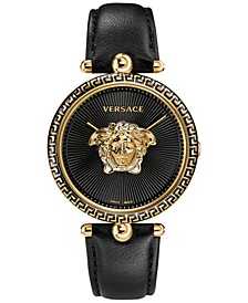 Women's Swiss Palazzo Empire Black Leather Strap Watch 39mm