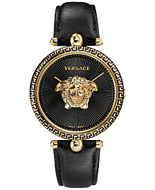 Versace Women's Swiss Palazzo Empire Black Leather Strap Watch 39mm