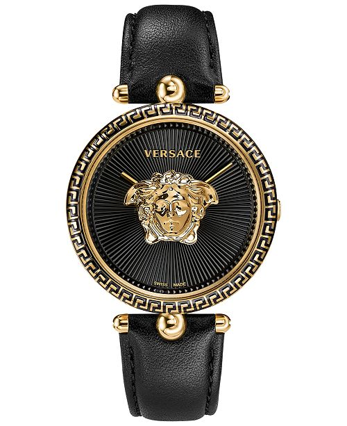 609e72f0dfb Versace Women s Swiss Palazzo Empire Black Leather Strap Watch 39mm ...