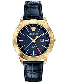 Versace Men's Swiss Business Slim Blue Alligator Leather Strap Watch 43mm