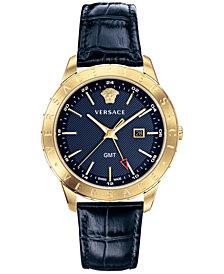 Versace Men's Swiss Business Slim Blue Alligator Leather Strap Watch 43mm