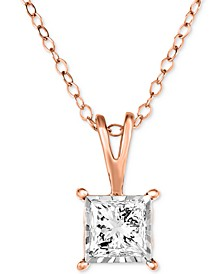 "Diamond Princess 18"" Pendant Necklace (1/2 ct. t.w.) in 14k White, Yellow or Rose Gold"