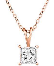 """TruMiracle® Diamond Princess Solitaire 18"""" Pendant Necklace (1/2 ct. t.w.) in 14k White Gold"""