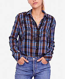 Free People Magical Embroidered Plaid Cotton Shirt