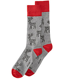 AlfaTech by Alfani Men's Reindeer Socks, Created for Macy's
