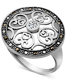 Marcasite & Crystal Openwork Ring in Fine Silver-Plate