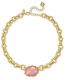 "kate spade new york Gold-Tone Stone Chunky Link Collar Necklace, 15"" + 3"" extender"