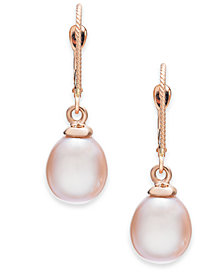 Pink Cultured Freshwater Pearl (8-1/2mm) Drop Earrings in 14k Rose Gold