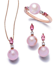 Pink Cultured Freshwater Pearl Jewelry Collection in 14k Rose Gold