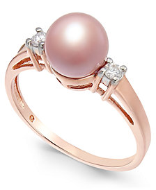 Pink Cultured Freshwater Pearl (7mm) & Diamond Accent Ring in 14k Rose Gold