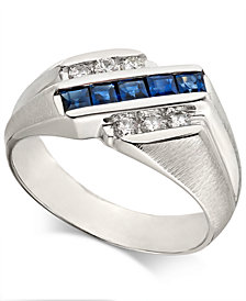 Men's Sapphire (7/8 ct. t.w.) & Diamond (1/4 ct. t.w.)  Ring in 14k White Gold