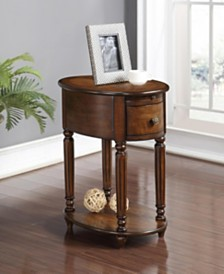 Abigail Oval Chairside Table With USB And Power Outlet