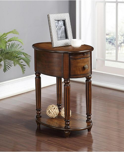 Aail Oval Chairside Table With Usb And Outlet