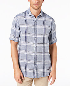 Tasso Elba Men's Linen Plaid Shirt