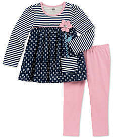 Kids Headquarters Baby Girls 2-Pc. Striped Flowers Tunic & Leggings Set