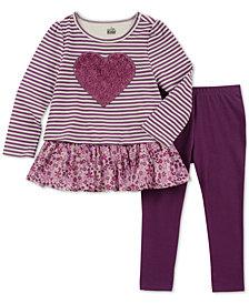 Kids Headquarters Baby Girls 2-Pc. Striped Heart Tunic & Leggings Set