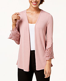 Alfani Lace-Inset Sweater Cardigan, Created for Macy's