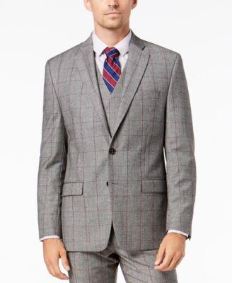 Men's Classic-Fit UltraFlex Stretch Black/White Windowpane Suit Jacket