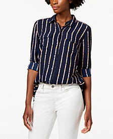 Charter Club Printed Button-Front Shirt, Created for Macy's