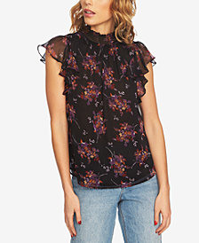 1.STATE Floral-Print Flutter-Sleeve Top