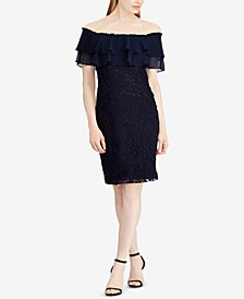 Lauren Ralph Lauren Floral-Embroidered Off-The-Shoulder Dress