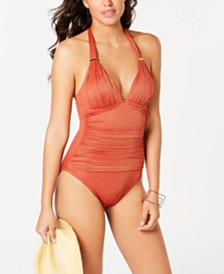 Kenneth Cole Push-Up Tummy-Control One-Piece Swimsuit