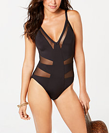Kenneth Cole Mesh-Inset Plunging One-Piece Swimsuit