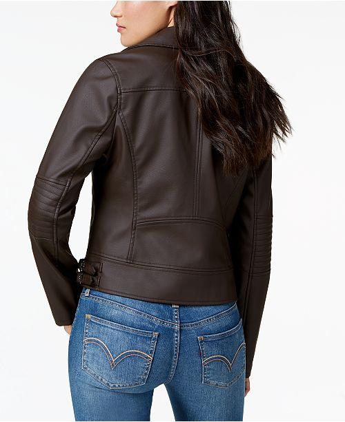 Pink Celebrity Moto Leather Bark Juniors' Faux Jacket Oqnqd6R
