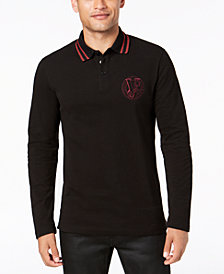 Versace Men's Long-Sleeve Logo Polo
