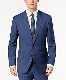 HUGO Men's Modern-Fit Navy Micro-Tic Suit Jacket