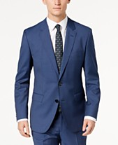 7f83b3e0e95 HUGO Men s Modern-Fit Navy Micro-Tic Suit Jacket
