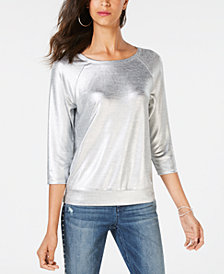 I.N.C. 3/4-Sleeve Foil Top, Created for Macy's
