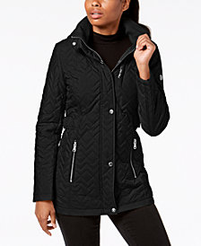 Calvin Klein Petite Hooded Quilted Coat