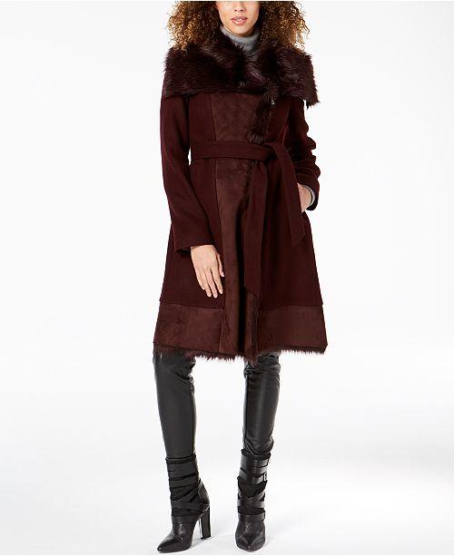 7106a74d54936 Vince Camuto Faux-Fur-Trim Wrap Coat   Reviews - Coats - Women - Macy s